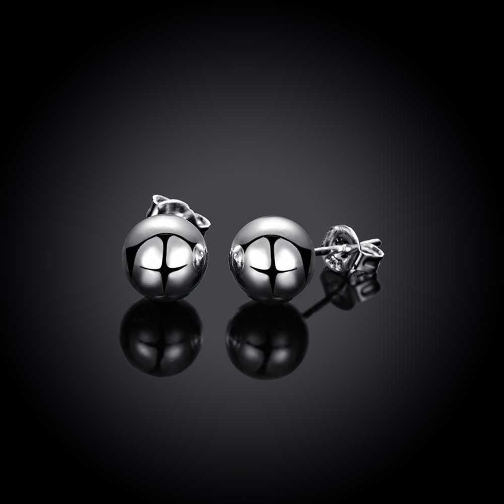Ball Stud Pearl Earring in White Gold Plated - CharmToSpare