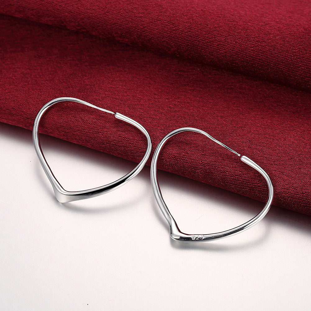 Heart Hoops Earring in White Gold Plated - CharmToSpare
