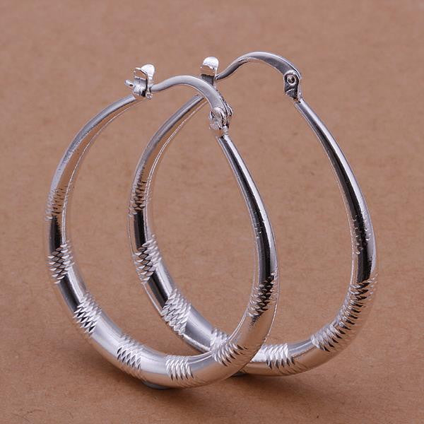 Diamond Cut French Lock Hoop Earring in White Gold Plated - CharmToSpare