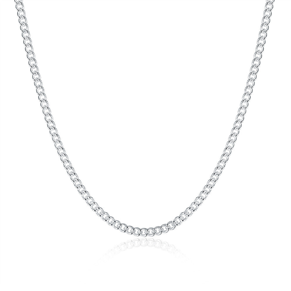 White Gold Plated Fiagro Chain / Cuban Chain Unisex - CharmToSpare