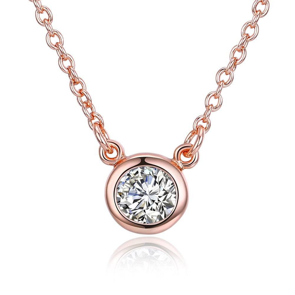 Swarovski Crystal 18K Rose Plated Bezel Necklace - CharmToSpare