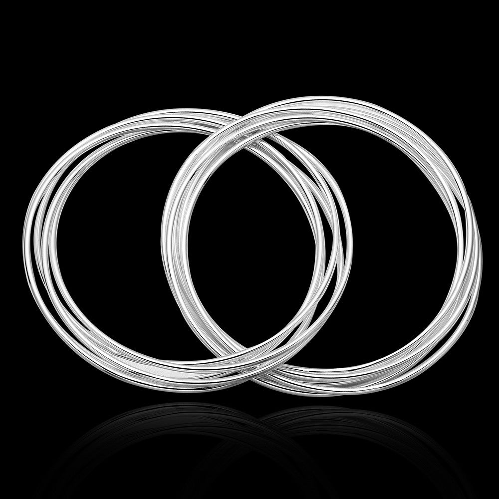 White Gold Plated 8 PC Stacking Solid Bangle - CharmToSpare