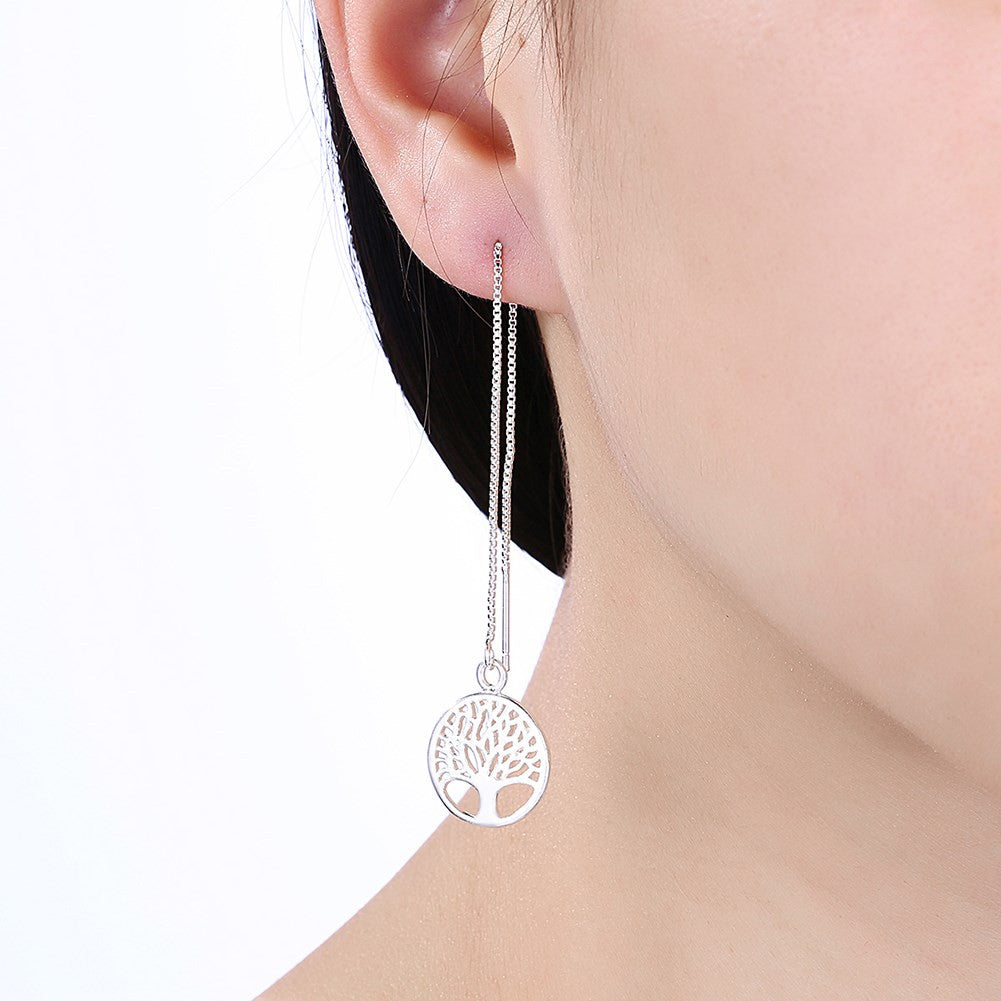 Tree of Life Threader Earring in White Gold Plated - CharmToSpare