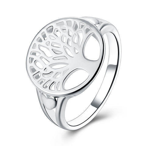 Tree of Life Ring in 18K White Gold Plated - CharmToSpare