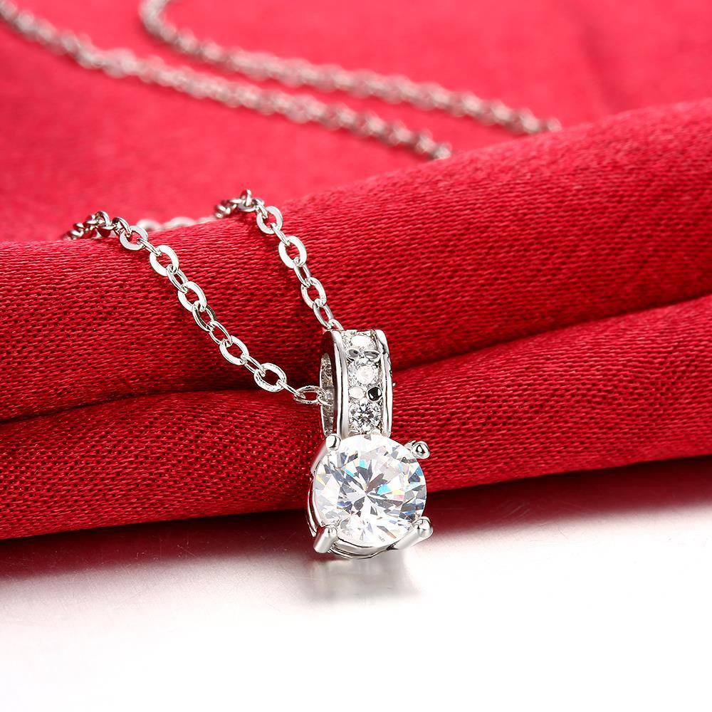 Swarovski Crystal 18K White Gold Plated Diamond Simulated Necklace - CharmToSpare