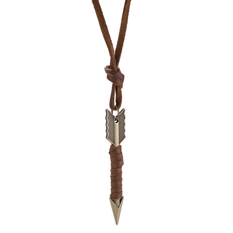 Mens Necklace in Stainless Steel Arrow wrapped in Vegan Leather - CharmToSpare