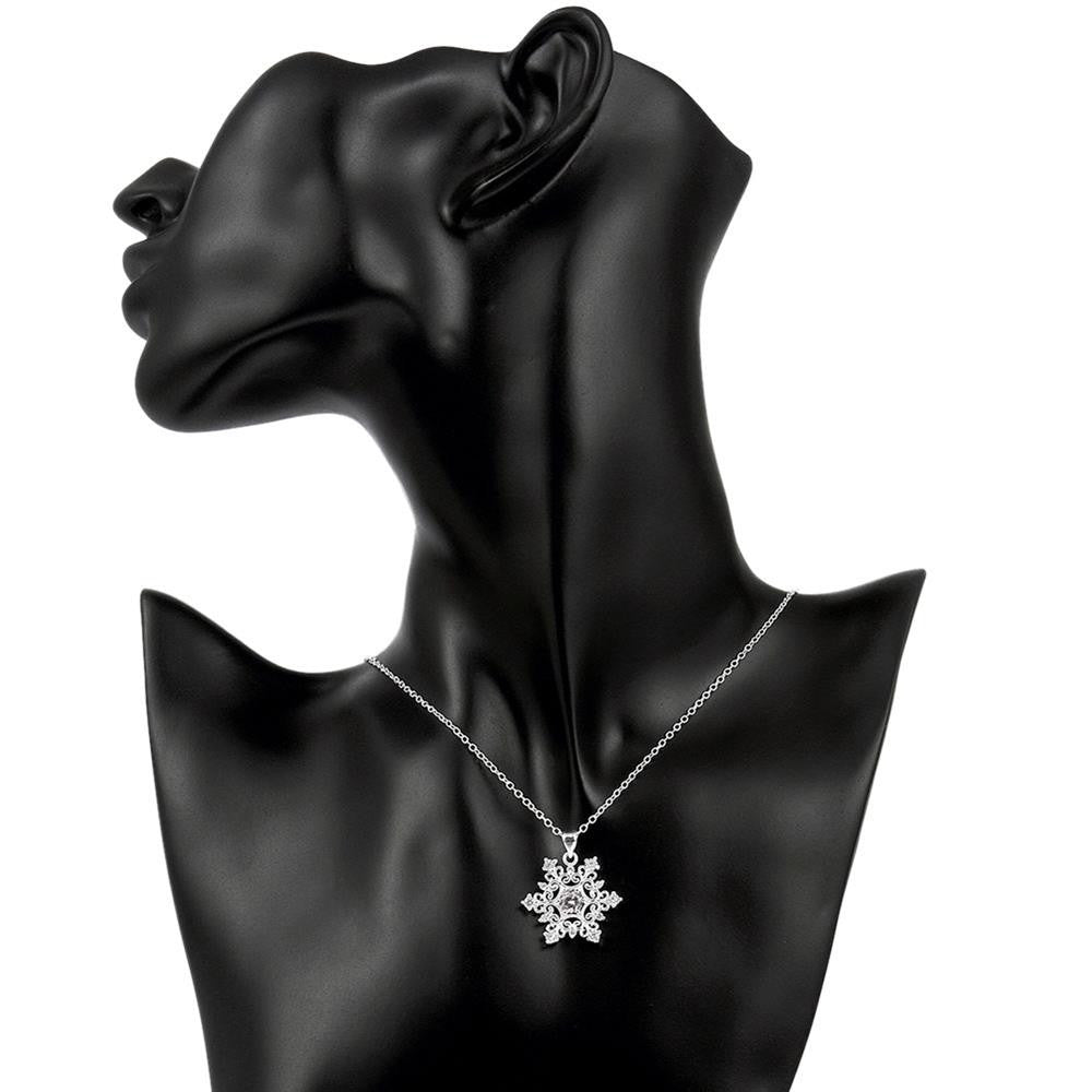 Swarovski Crystal Snowflake Necklace in 18K White Gold Plated - CharmToSpare