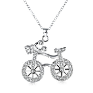 Swarovski Crystal Bicycle Necklace in 18K White Gold Plated - CharmToSpare