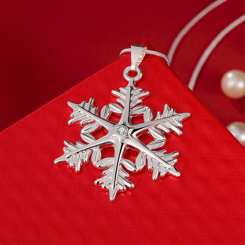 Snowflake Necklace in 18K White Gold Plated - CharmToSpare