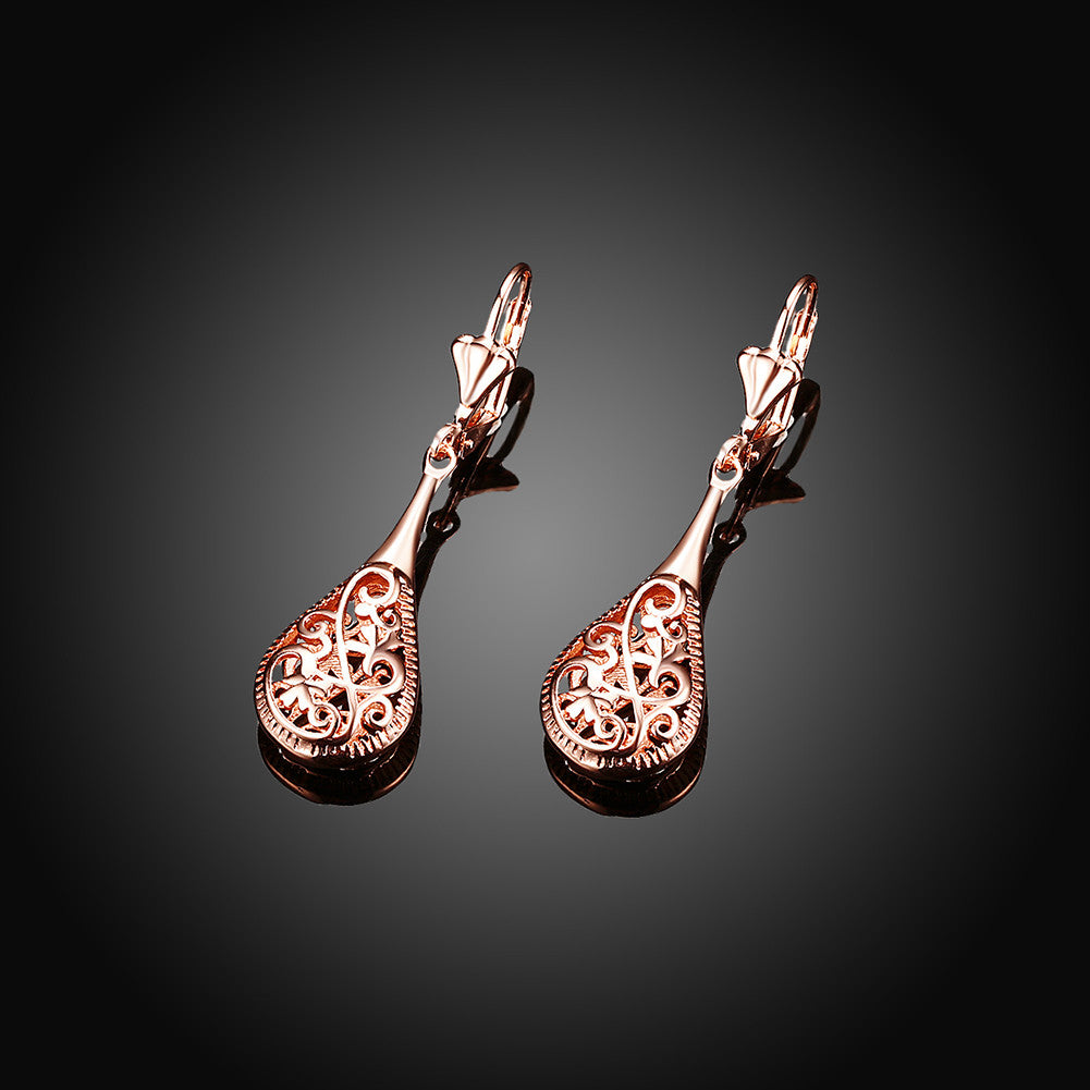 18K Rose Gold Bohemian Drop Earring - CharmToSpare