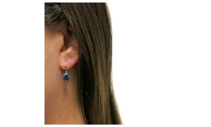 Made with Swarovski Crystal Mystic Topaz Leverback Earring - CharmToSpare