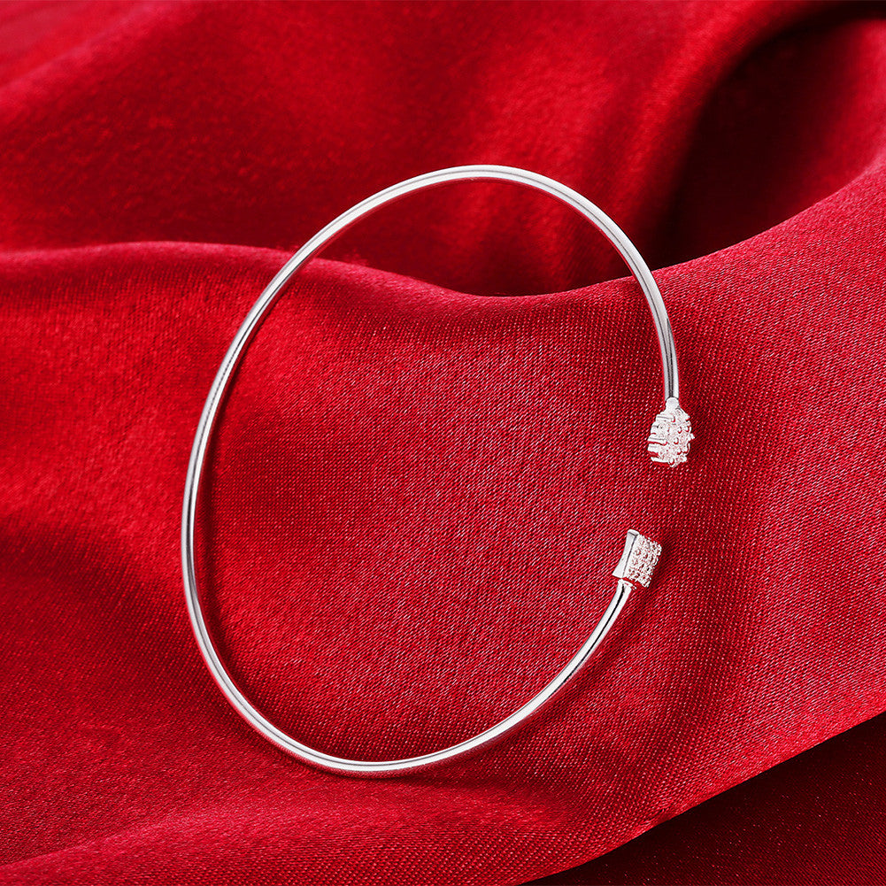 Swarovski Crystal Geo Adjustable Bangle in 18K White Gold Plated - CharmToSpare