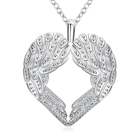 Wings of an Angel Necklace in 18K White Gold Plated - CharmToSpare