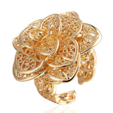 Gold Plated Multi- Floral Petals Adjustable Ring - CharmToSpare