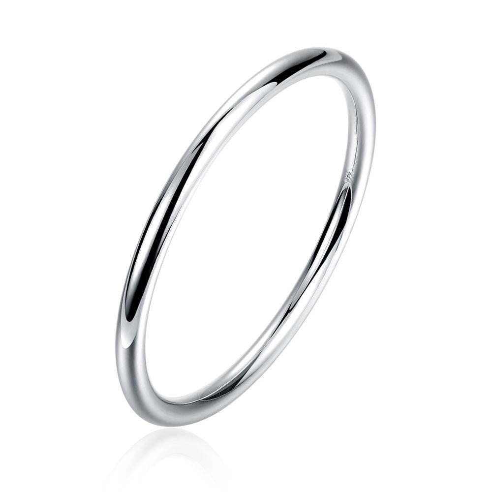 White Gold Plated Solid Bangle - CharmToSpare