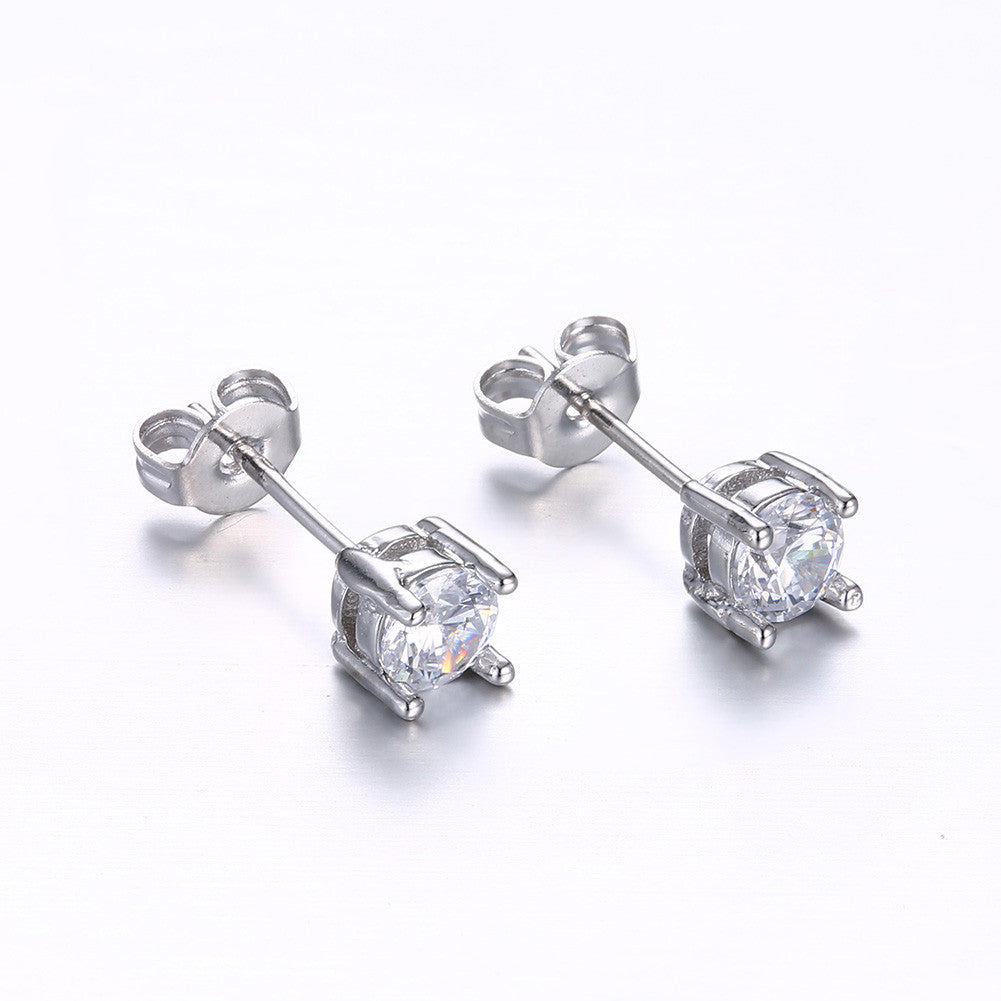 18K White Gold Plated Classic Simulated Diamond - CharmToSpare