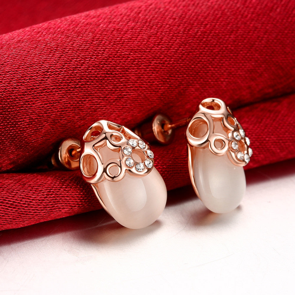Ceramic Glass Gold Plate Studs - CharmToSpare
