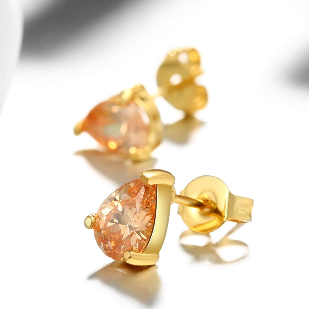 18K Gold Plated Citrine Pair Studed Earrings - CharmToSpare