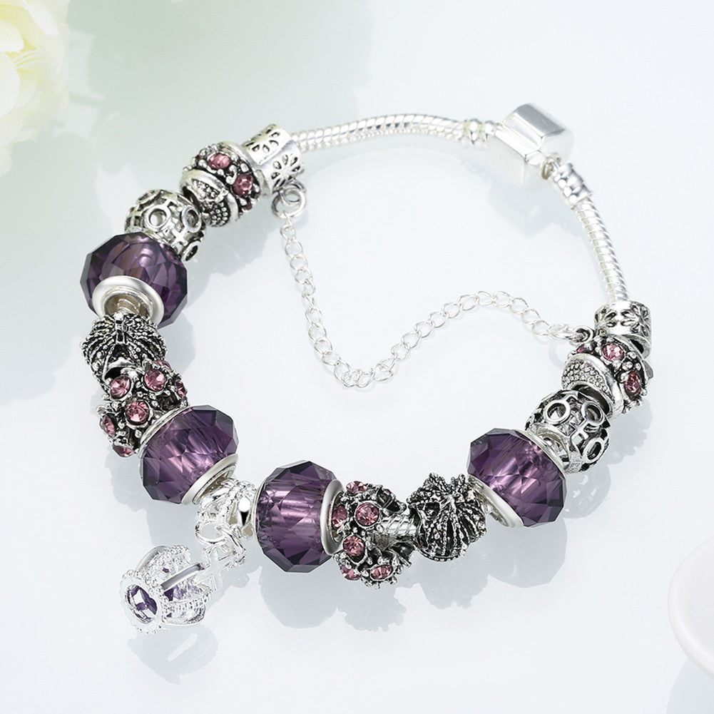 Royal Sapphire Crown Jewel Pandora Inspired Bracelet Made with Swarovski Elements - CharmToSpare