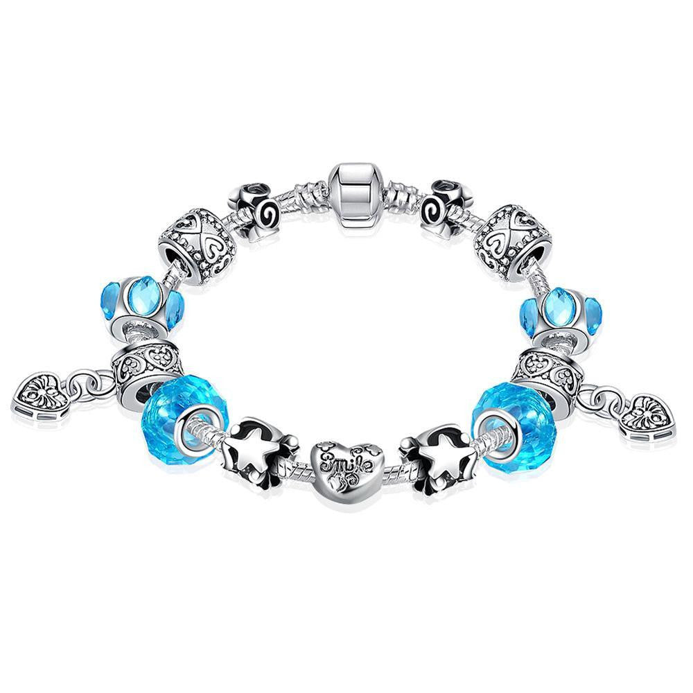 Aquamarine Crystal Smile Pandora Inspired Bracelet Made with Swarovski Elements - CharmToSpare
