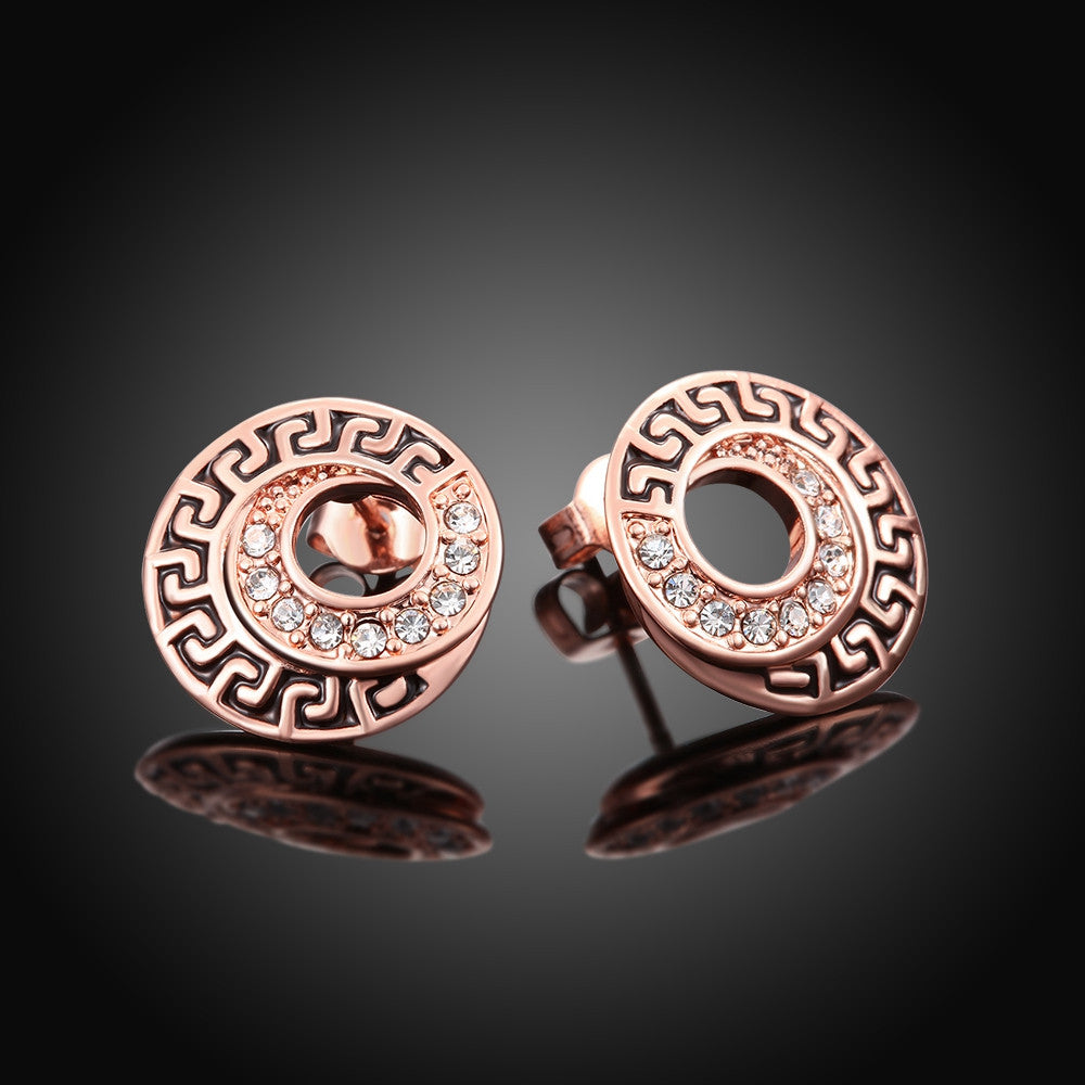 18K Rose Gold Plated Medallion Stud Earring - CharmToSpare