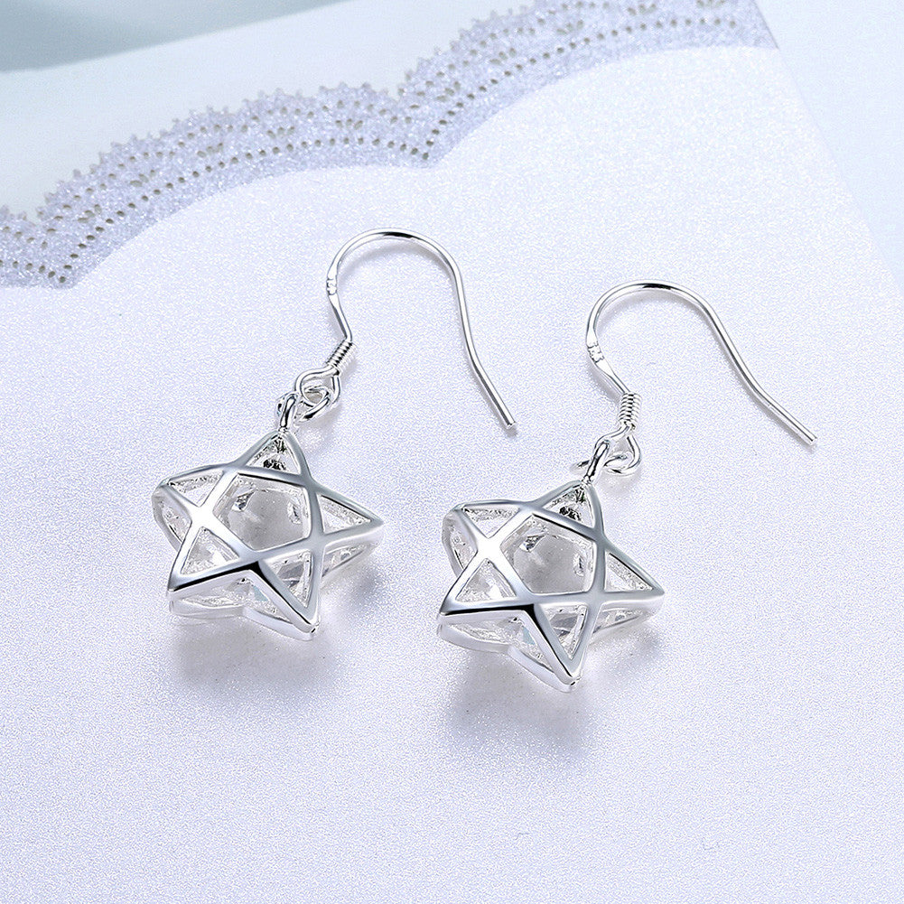 18K White Gold Plated Filled In Stars Shaped Earring - CharmToSpare