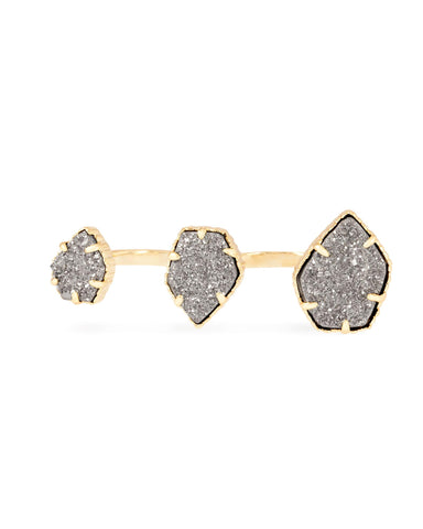 Gold Plated with Grey Druzy Stone Knuckle Ring - CharmToSpare