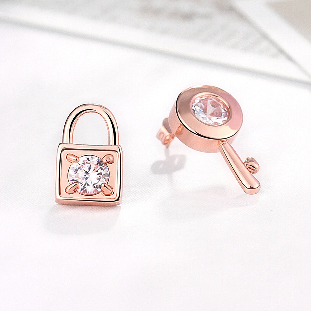 Gold Plated Key to your Lock Studded Earrings - CharmToSpare