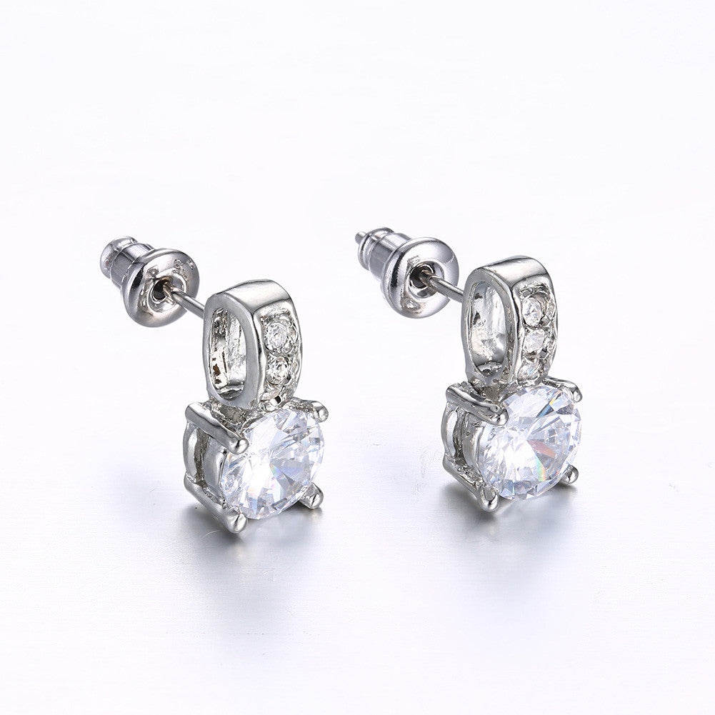 Triple Stone Crystal Pave with Diamond Simulated Studs - CharmToSpare