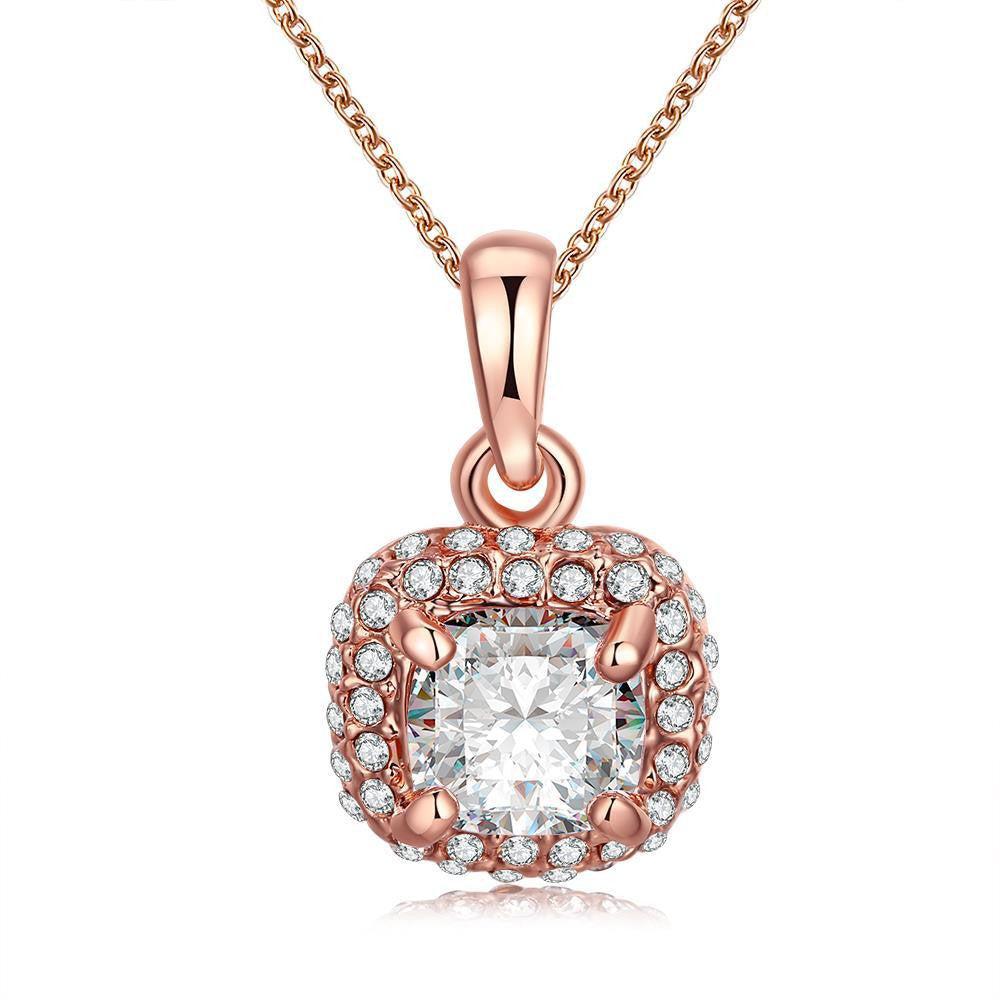18K Rose Gold Plate Geometric White Topaz Necklace - CharmToSpare