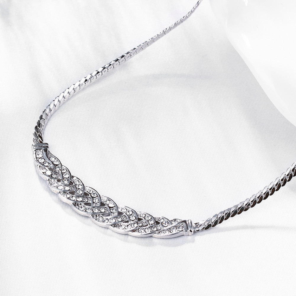 18K White Gold Plated Chained Loop Necklace - CharmToSpare