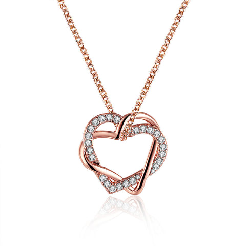 Rose Gold Plated Crystal Inlay Necklace - CharmToSpare