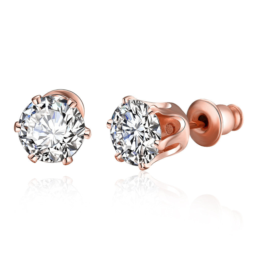 Rose Gold Plated Diamond 4CT Studs - CharmToSpare