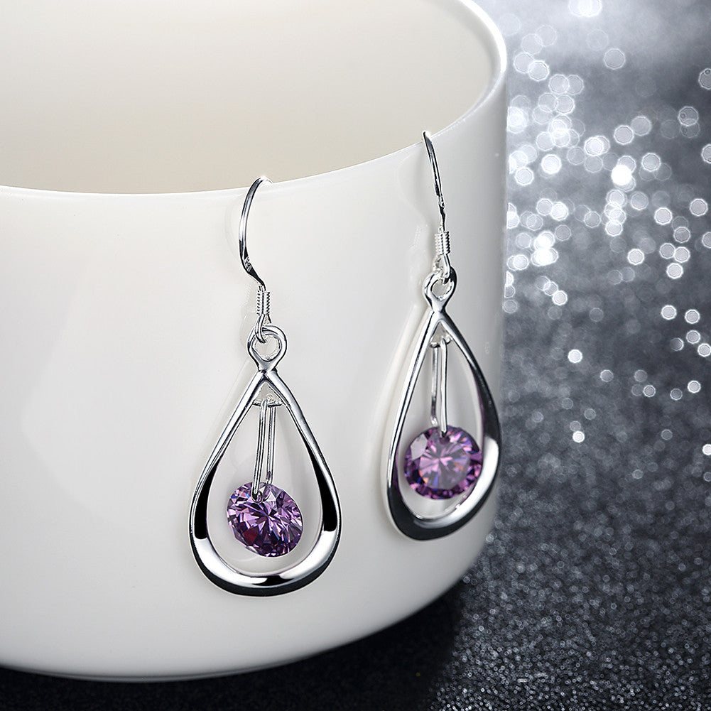 18K White Gold Plated Purple Citrine Circular Drop Earring - CharmToSpare