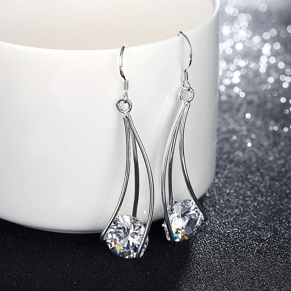 18K White Gold Plated Drop Crystal Earring - CharmToSpare