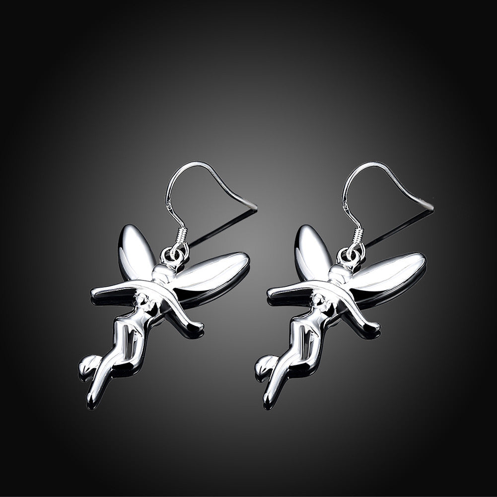 18K White Gold Plated Drop Angels Earring - CharmToSpare