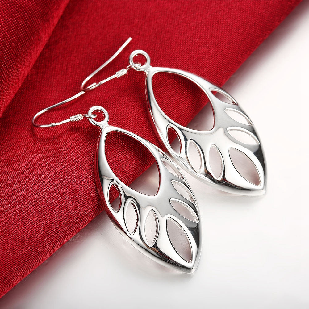 18K White Gold Plated Hollow Cut Ovular Earring - CharmToSpare