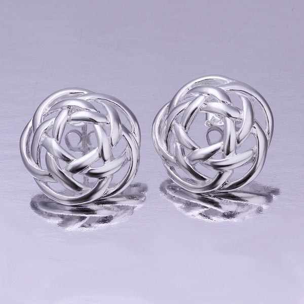 18K White Gold Plated Abstract Circular Stud Earring - CharmToSpare