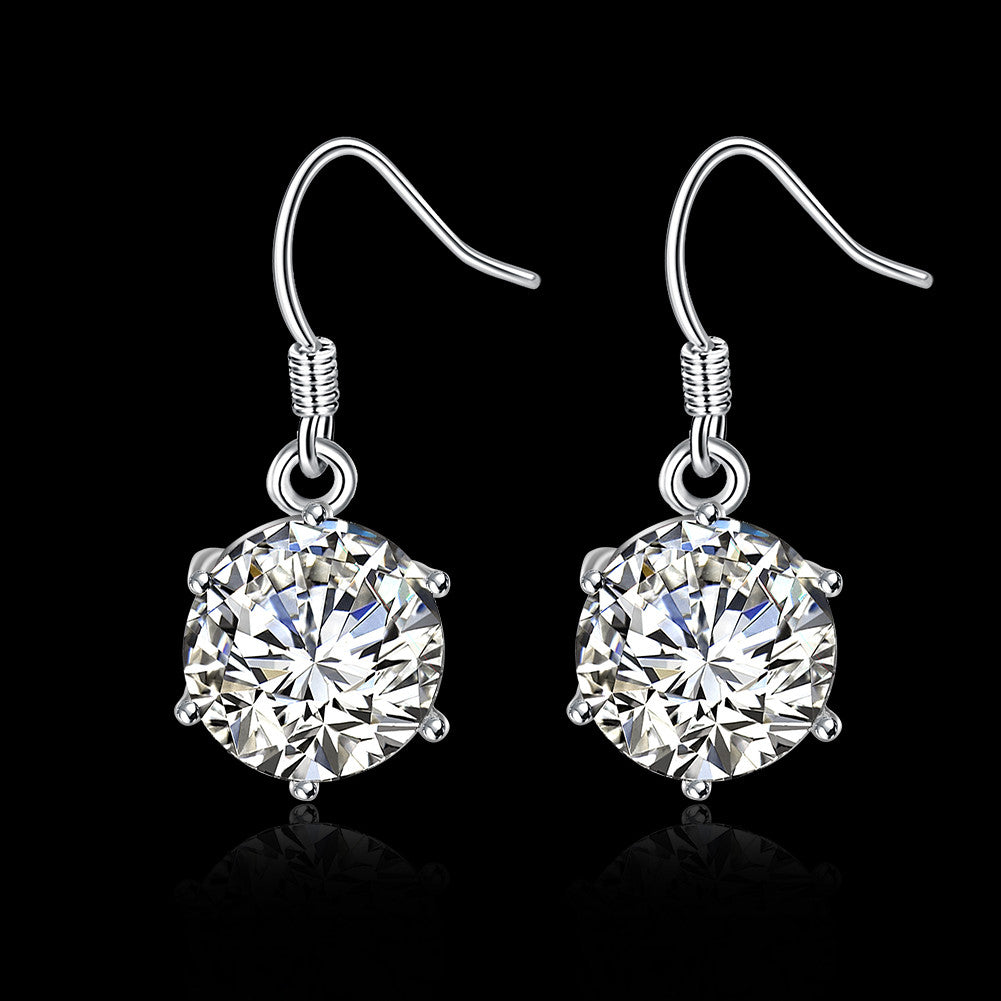 18K White Gold Plated Classic Crystal Earring - CharmToSpare