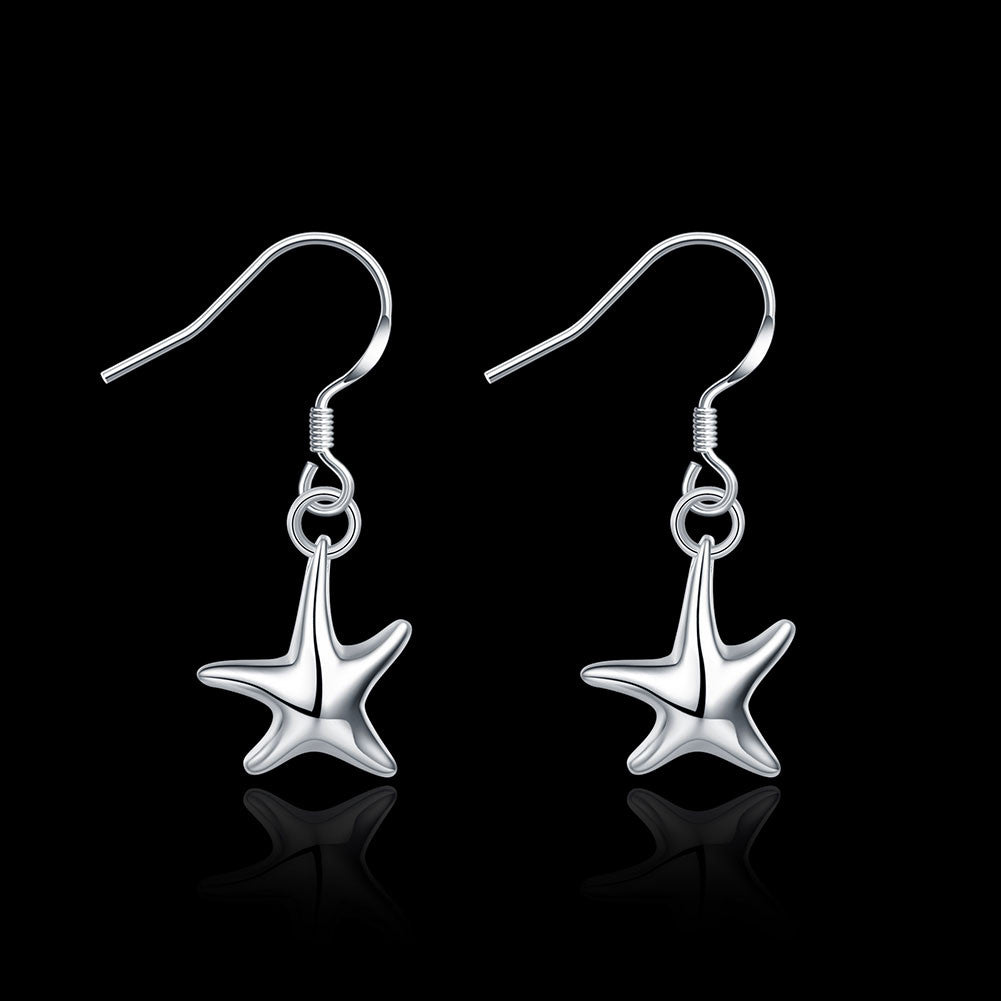 18K White Gold Plated Five-Point Starfish Earring - CharmToSpare