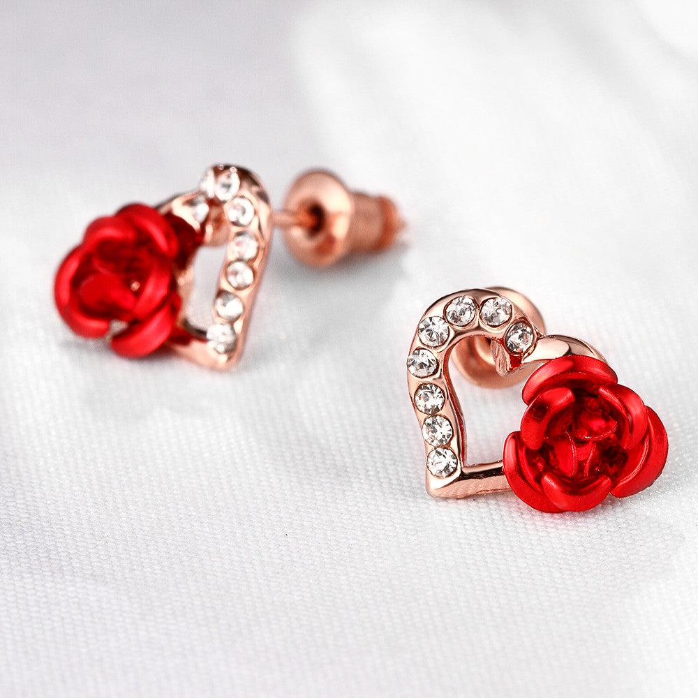 18K Rose Gold Plated Heart Flower Stud Earrings - CharmToSpare