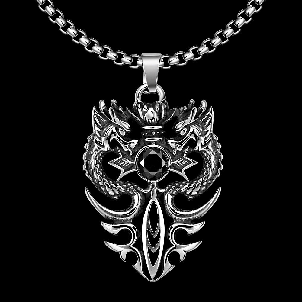 Double Dragon Emblem Stainless Steel Necklace - CharmToSpare