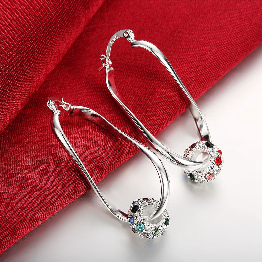 18K White Gold Plated Rainbow Ball Hoop Earring - CharmToSpare