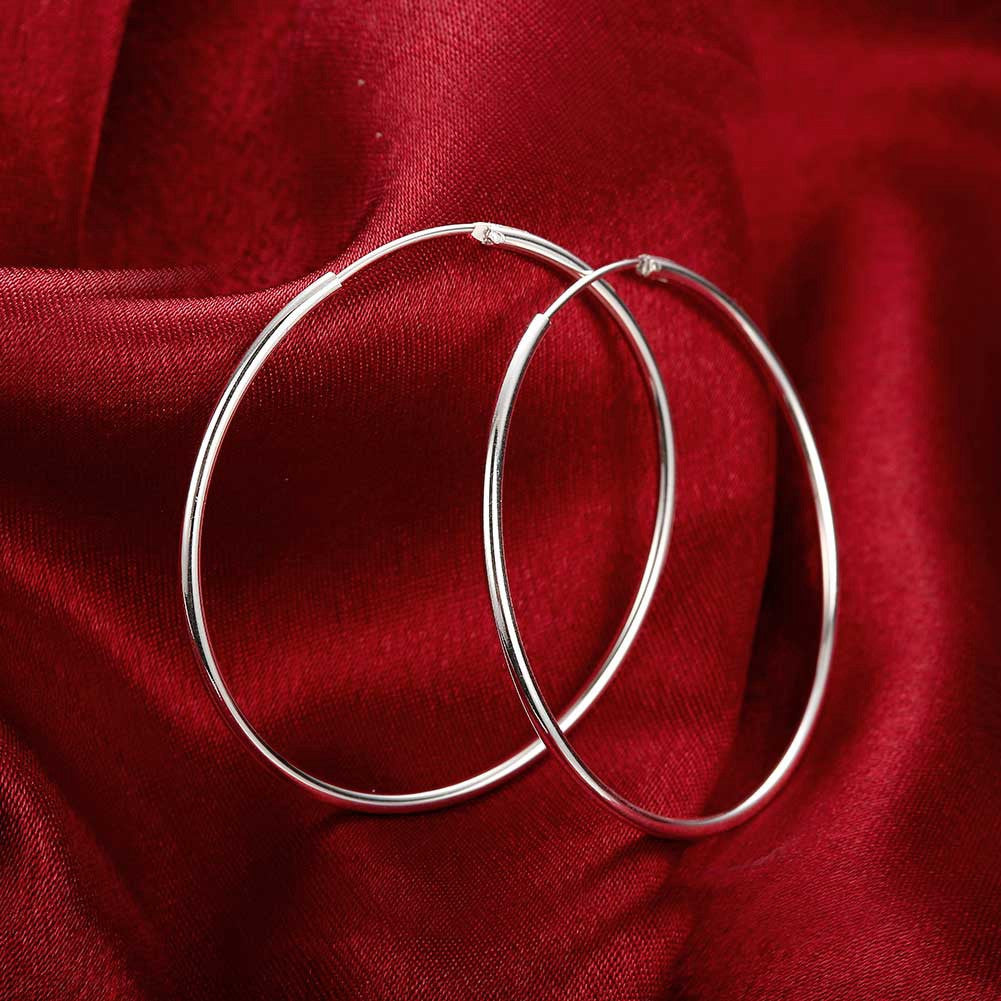 18K White Gold Plated Thin Cut Hoops - CharmToSpare