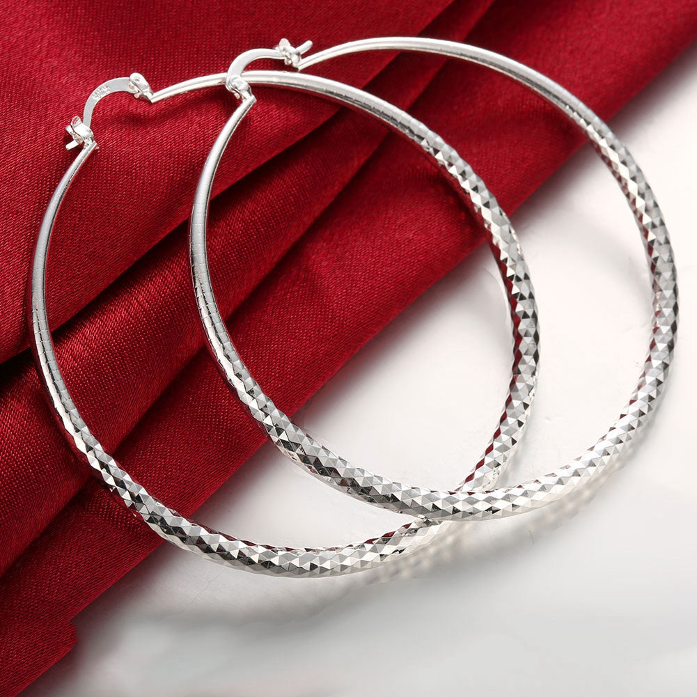 18K White Gold Plated Classic New York Hoop Earring - CharmToSpare