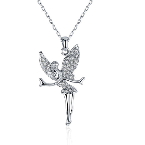 White Gold Plated Flying Angel Necklace - CharmToSpare