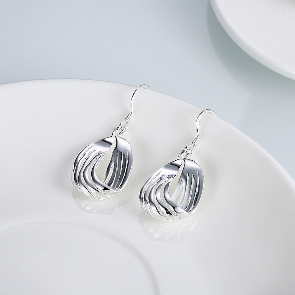 18K White Gold Plated Sea-Shell Laser Cut Earring - CharmToSpare