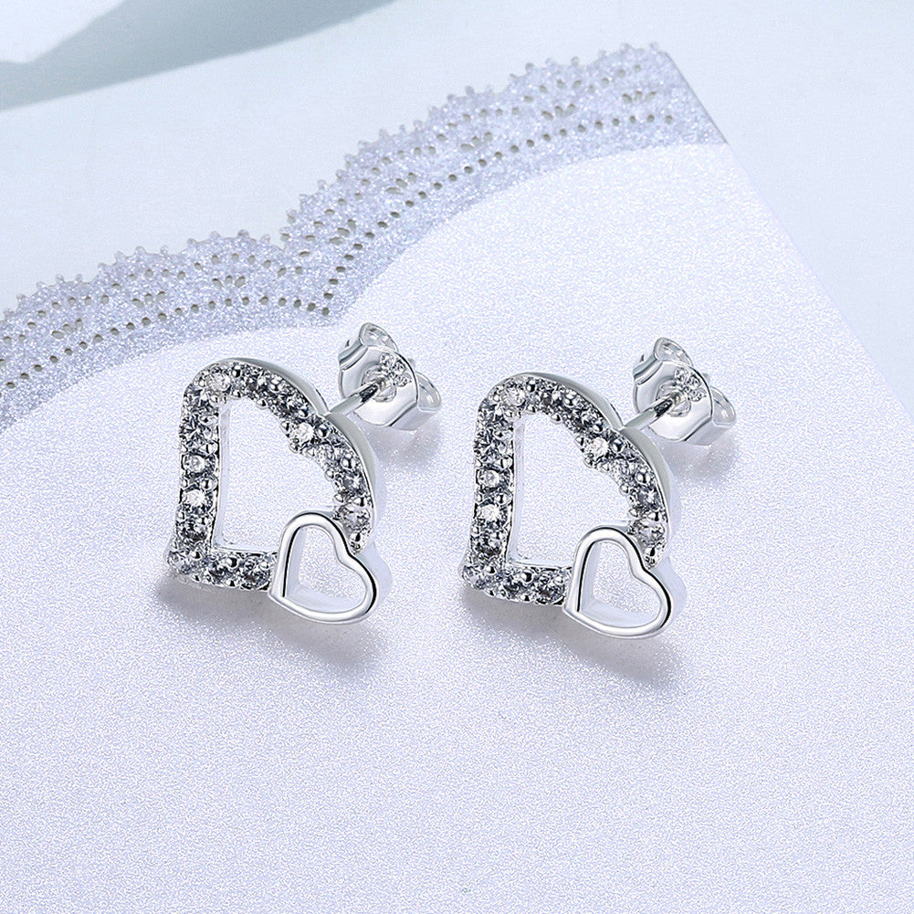 18K White Gold Plated Double Hearts Stud Earring - CharmToSpare