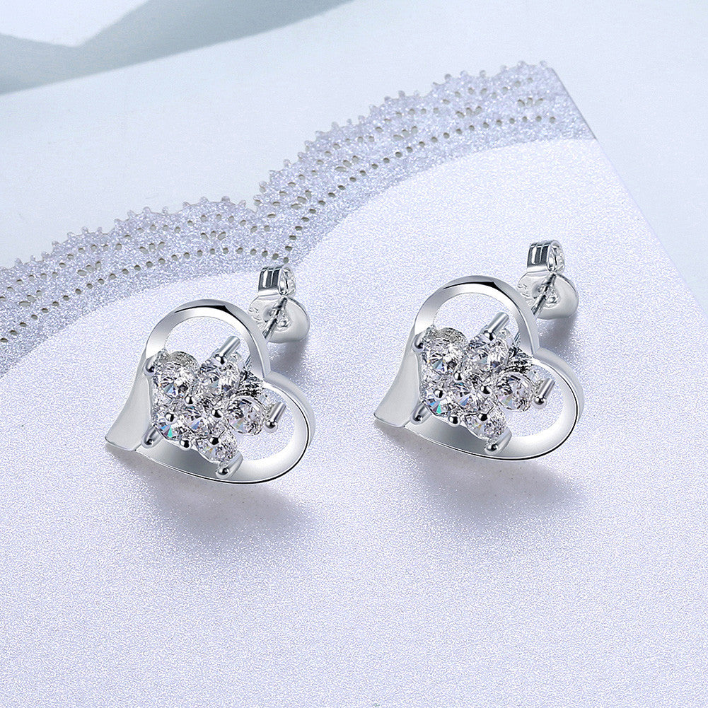18K White Gold Plated Angular Heart Shaped with CrystalEarring - CharmToSpare