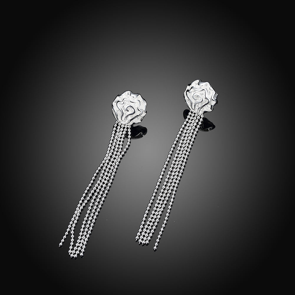 18K White Gold Plated Linear Chandelier Drop Earring - CharmToSpare